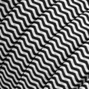 Cavo elettrico per Catenaria rivestito in tessuto Effetto Seta ZigZag Bianco - Nero CZ04