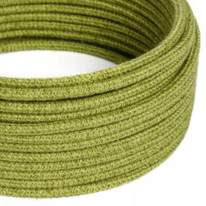 Cavo Elettrico rotondo rivestito in Juta Tinta Unita Verde Fieno RN23