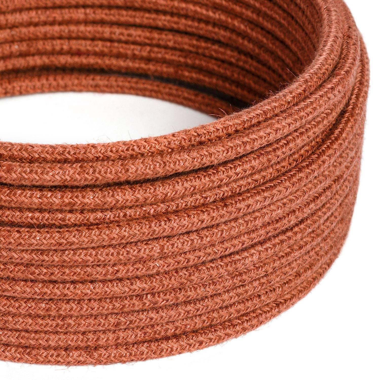 Cavo Elettrico rotondo rivestito in Juta Tinta Unita Arancione Argilla RN27