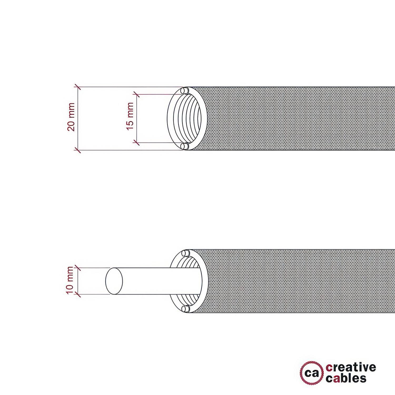 Creative-Tube, diametro 20 mm, rivestito in tessuto effetto Seta RM09 Rosso, canalina passacavi modellabile