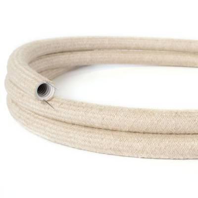Creative-Tube, diametro 20 mm, rivestito in tessuto RN01 Lino Naturale Neutro, canalina passacavi modellabile
