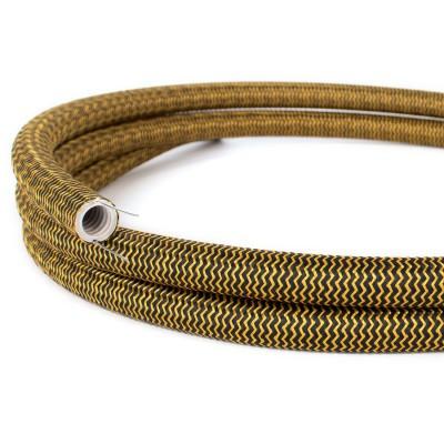 Creative-Tube, diametro 20 mm, rivestito in tessuto RZ24 Effetto Seta Oro e Nero, canalina passacavi modellabile