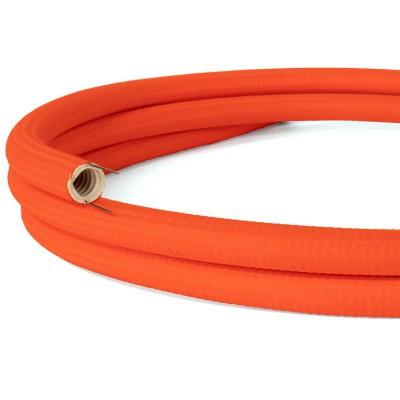 Creative-Tube, diametro 20 mm, rivestito in tessuto RF15 Effetto Seta Arancione Fluo, canalina passacavi modellabile