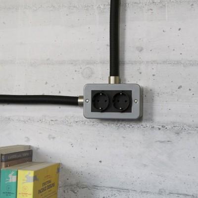 Scatola da parete in metallo con doppia presa Schuko per Creative-Tube