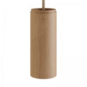 Lampada a sospensione Made in Italy completa di cavo tessile e paralume Tub-E14 in legno