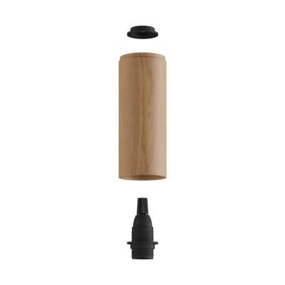 Tub-E14, tubo in legno per faretto con portalampada doppia ghiera E14