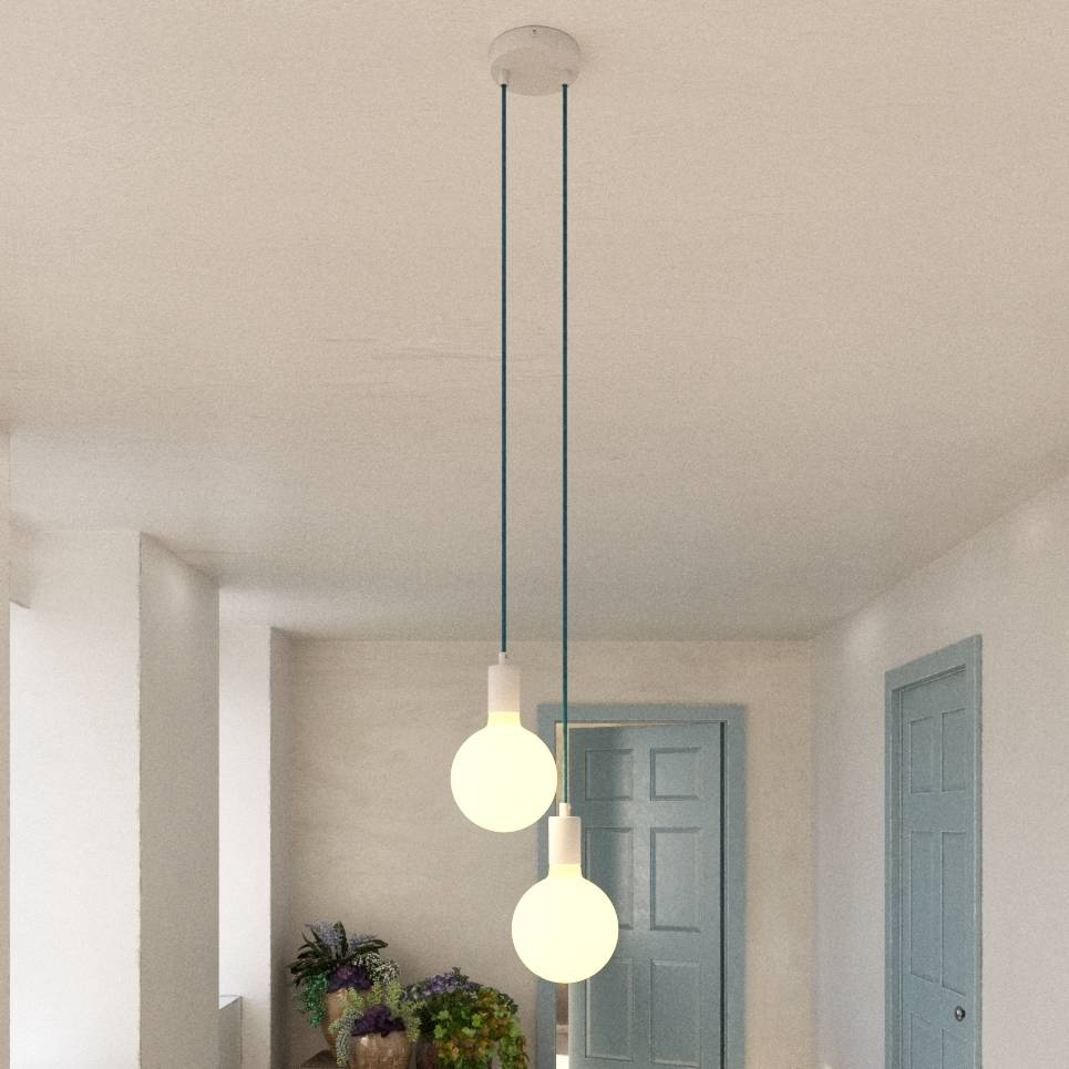 Lampade a sospensione doppia con lampadina a vista